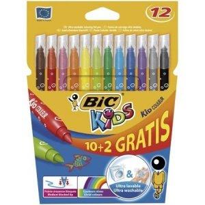 Flamastry Kid Couleur 12 kolorów BIC (03226)