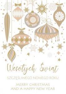 Kartka świąteczna firmowa BOŻE NARODZENIE 12 x 17 cm + koperta (47550)
