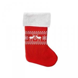 Skarpeta mikołajkowa świąteczna RENIFERY czerwona Incood. (0111-0018)