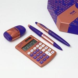 ZESTAW UPOMINKOWY  MIEDZIANY kalkulator długopis ołówek temperówka gumka (08740)