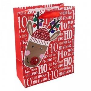 Torebka świąteczna na prezent HO HO HO Incood. (0071-0309)