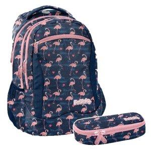 ZESTAW el. Plecak szkolny młodzieżowy różowe flamingi, FLAMINGO Paso (PPNG20-2808SET2CZ)