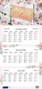 Kalendarz ścienny trójdzielny KWIATY 2021 (72843)