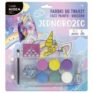 Farbki do malowania twarzy ZESTAW UNICORN 6 kolorów KIDEA (FDTZUKA)