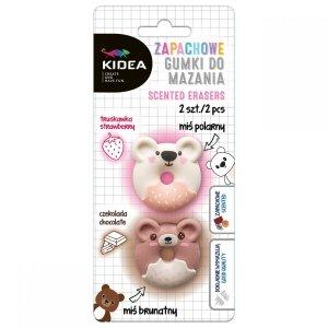 Gumka gumki do mazania zapachowe MISIE 2 szt. KIDEA (GMZM2KA)