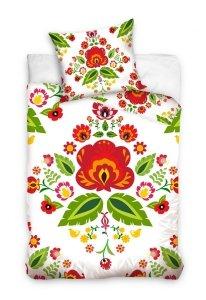 Pościel bawełniana FOLK kwiaty biała 160 x 200 cm komplet pościeli (NL211022B)