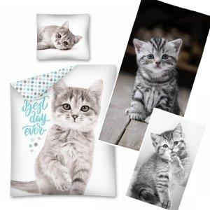 ZESTAW 3 el. Komplet pościeli pościel CAT Kotek 140 x 200 cm + RĘCZNIK KĄPIELOWY + DZIECIĘCY (2870SET3CZ)