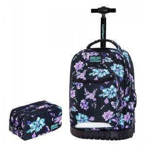 ZESTAW 2 el. Plecak CoolPack SWIFT 29 L  na kółkach w kwiaty na ciemnym tle, VIOLET DREAM (C04198SET2CZ)
