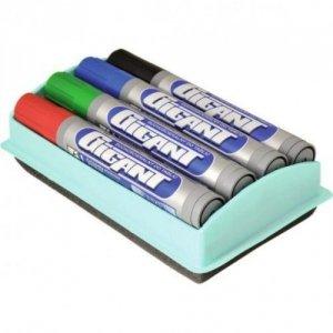 Markery suchościeralne GIGANT 4 kolory + gąbka (01155)