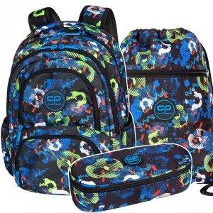 ZESTAW 3 el. Plecak CoolPack SPINER 24 L piłka nożna, FOOTBALL BLUE (D001336SET3CZ)