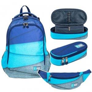 ZESTAW 3 el. Plecak szkolny młodzieżowy ST.RIGHT w melanżowe paski, MELANGES STRIPES BP57 (26982SET3CZ)