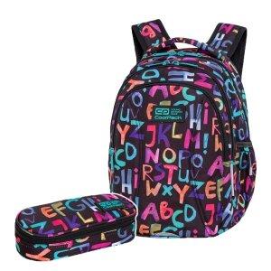 ZESTAW 2 el. Plecak wczesnoszkolny CoolPack JOY S 21L alfabet, ALPHABET (C48236SET2CZ)