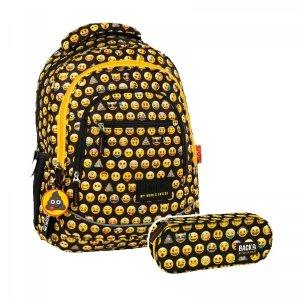 ZESTAW 2 el. Plecak szkolny młodzieżowy BackUP Emoji EMOTIKONY (PLB2XEM86SET2CZ)
