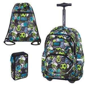 ZESTAW 3 el. Plecak CoolPack STARR 27 L na kółkach piłka nożna, FOOTBALL (C35230SET3CZ)