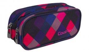 Piórnik CoolPack CLEVER dwukomorowy saszetka kolorowe romby, ELECTRIC PINK (82294CP)