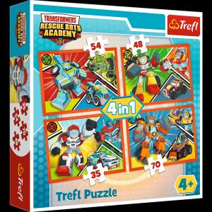 TREFL Puzzle 4 w 1 Akademia Transformersów, TRANSFORMERS (34313)