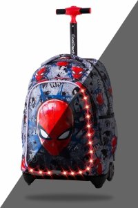 Plecak CoolPack JACK LED na kółkach Spiderman na szarym tle, SPIDERMAN BLACK (B52303)