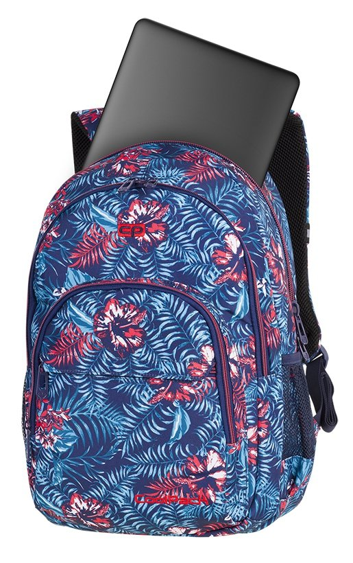 Plecak CoolPack BASIC PLUS czerwone kwiaty na granatowym tle, EMERALD JUNGLE (84499CP)