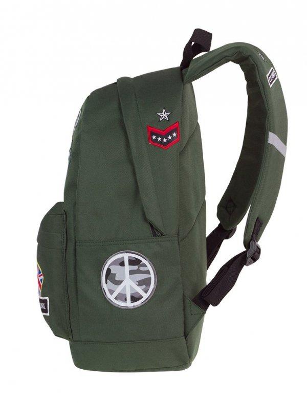 Plecak szkolny młodzieżowy COOLPACK CROSS zielony w znaczki, BADGES GREEN (89753CP)