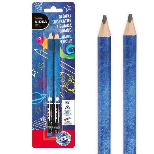 Ołówki do nauki pisania trójkątne grube z gumką HB 2 szt. KIDEA (OTGG2KA)
