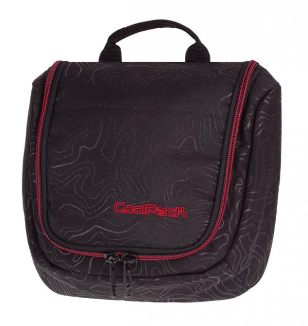 Kosmetyczka CoolPack TRAVEL czarna z czerwonymi dodatkami, TOPOGRAPHY RED 982 (71307)