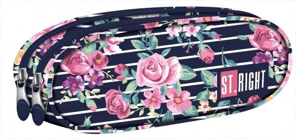 Piórnik dwukomorowy ST.RIGHT granatowy w pastelowe róże, LIGHT ROSES PU2 (18536)