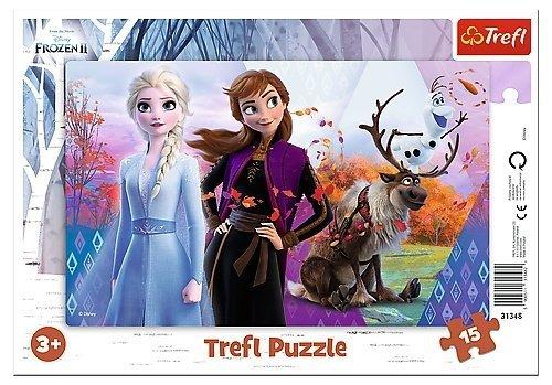 TREFL Puzzle Ramkowe 15 el. KRAINA LODU Magiczny świat Anny i Elsy (31348)