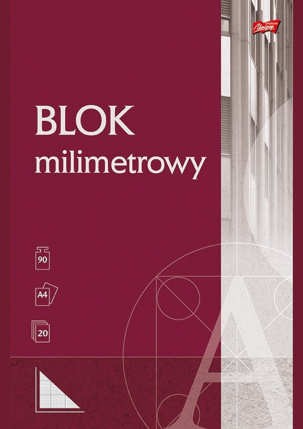 Papier milimetrowy w bloku A4, 20 kartek (22006)