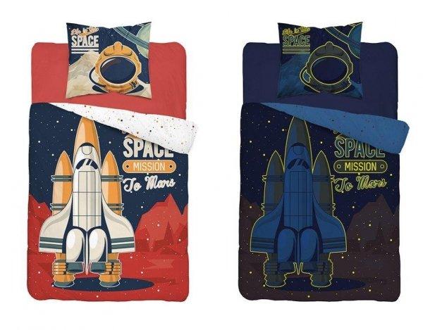 Komplet pościeli pościel świecąca w ciemności SPACE Rakieta 160 x 200 cm (3344A)