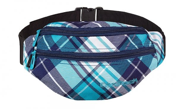 SASZETKA NERKA CoolPack na pas torba POLAR w niebieską kratę DERRICK 506 (60424)