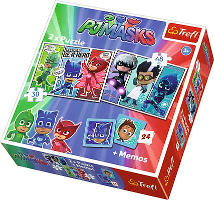 TREFL Puzzle 2w1 + memo Pidżamersi, Nocni wojownicy (90710)