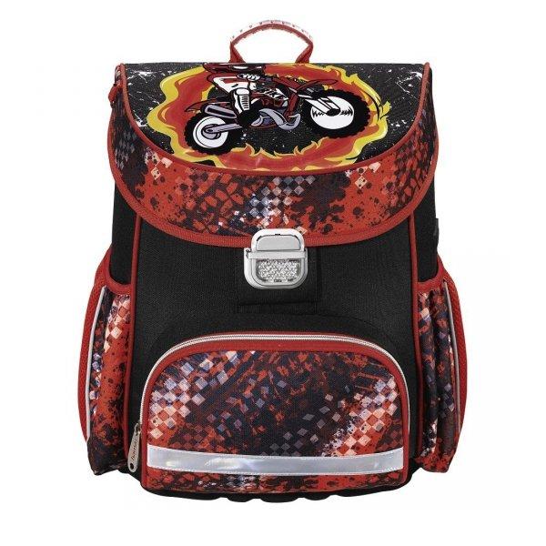 Tornister Szkolny MOTOROBIKE, czarno-czerwony HAMA (139073)