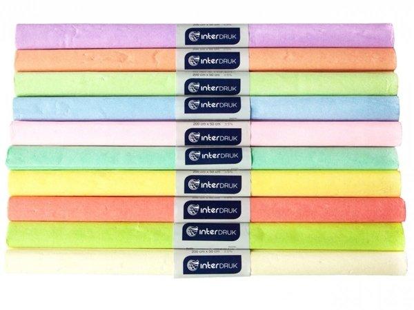 Bibuła marszczona PASTELOWA 50x200 cm PAKIET 10 kolorów (65388)