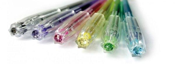 Długopisy diamentowe z brokatem 6 kolorów KIDEA zapachowe (DDB6KA)