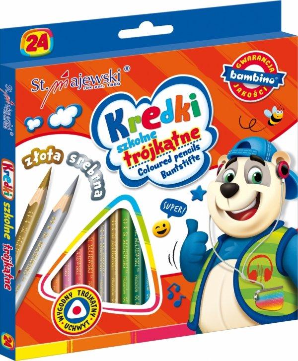 Kredki ołówkowe trójkatne BAMBINO 24 kolory (02076)