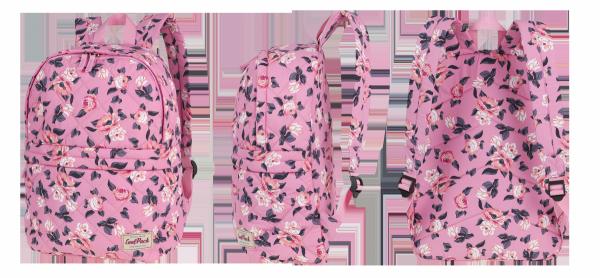Plecak CoolPack miejski FANNY kwiaty na różowym tle, PINK ROSE GARDEN + pompon (12478CP)