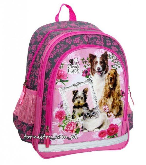 Plecak szkolny Cleo i Frank z psem i kotem (PL15CF11)