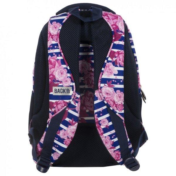 Plecak szkolny młodzieżowy Back UP róże na tle pasów STRIPE ROSES + słuchawki (PLB1B34)