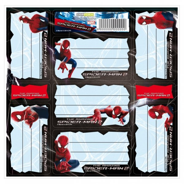 Nalepki na zeszyty Amazing Spiderman, licencja Marvel (NNZAS)