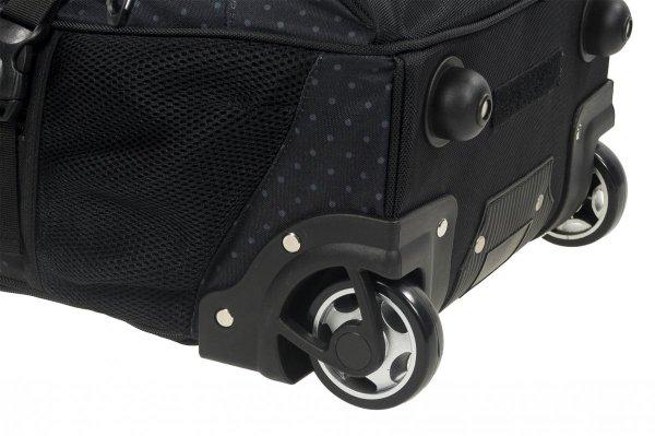Plecak szkolny młodzieżowy na kółkach Back UP czarny w szare groszki GREY DOTS + słuchawki (PLB1K28)