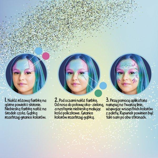 Farbki brokatowe do malowania twarzy 4 kolorów KIDEA (FDTBKA)