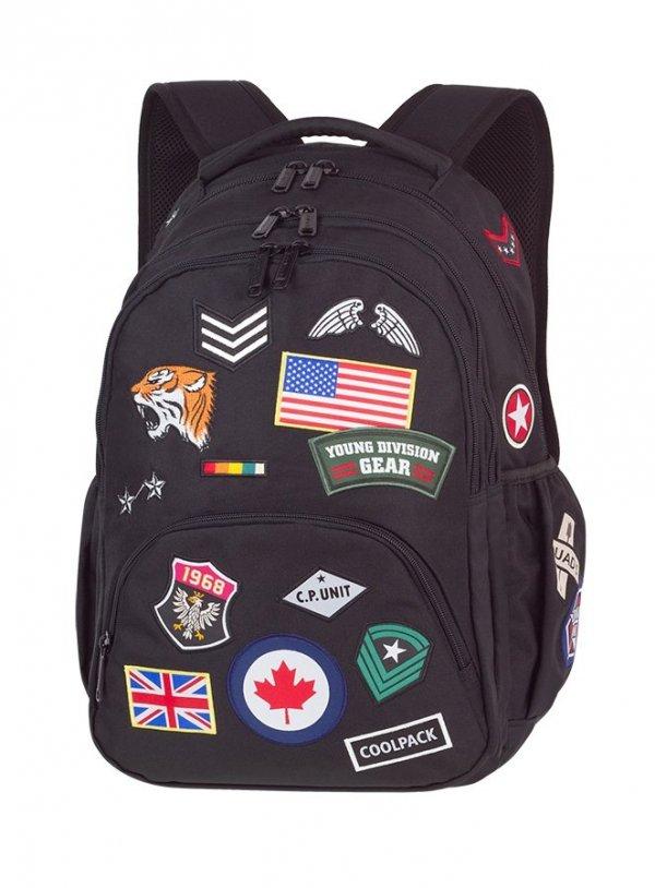 Plecak szkolny młodzieżowy COOLPACK BENTLEY czarny w znaczki, BADGES BLACK (89852CP)