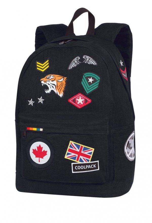 Plecak szkolny młodzieżowy COOLPACK CROSS czarny w znaczki, BADGES BLACK (89876CP)