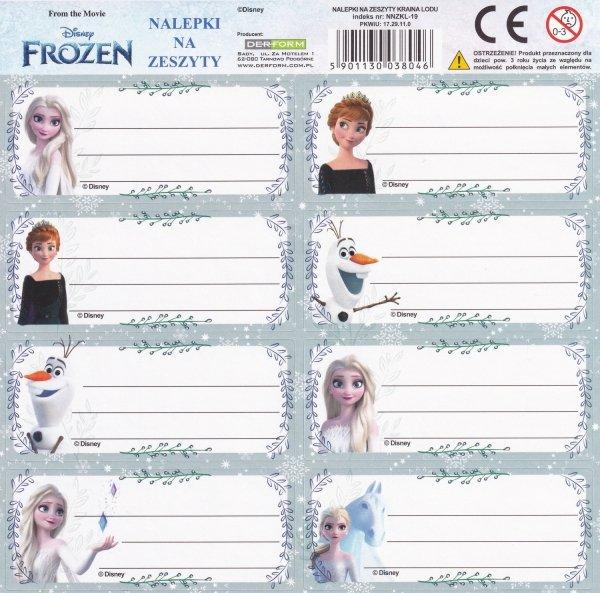 Nalepki na zeszyty Frozen KRAINA LODU (NNZKL)