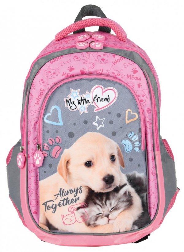 ZESTAW 3 el. Plecak szkolny St. Majewski My Little Friend CAT & DOG Kotek i piesek BP58 (28467SET3CZ)