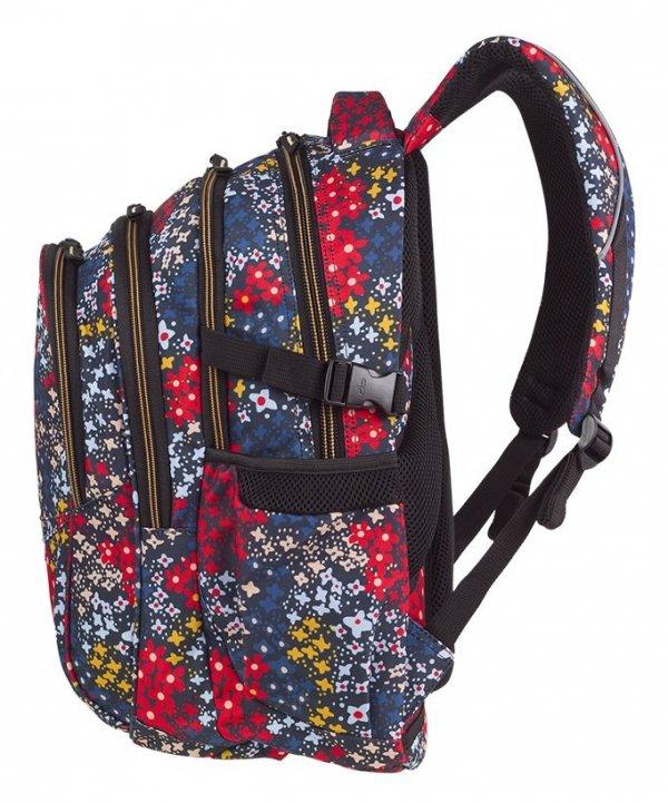 Plecak CoolPack FACTOR kolorowe kwiatki na granatowym tle, SUMMER MEADOW z pomponem (85745CP)