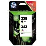 HP oryginalny ink SD449EE, HP 338 + HP 343, black/color, 480/330s, 2szt, HP 2-Pack, C8765EE + C8766EE
