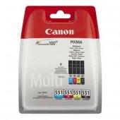 Canon oryginalny ink blistr z ochroną, CLI551, CMYK, 4x7ml, 6509B008, Canon PIXMA iP7250, MG5450, MG6350