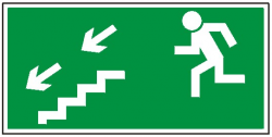 Kierunek do wyjścia drogi ewakuacyjnej schodami w dół na lewo 105  (FF)