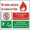 Znak zakaz korzystania z windy w razie pożaru 154 F.F..